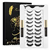2021 Upgraded 10 Magnets Magnetic Eyelashes with Eyeliner, Magnetic Lashes Pack 10 Pairs False Eyelashes and 2 Magnetic Eyeliner Natural Look Lashes No Glue Needed with Eyelash Applicator Tool