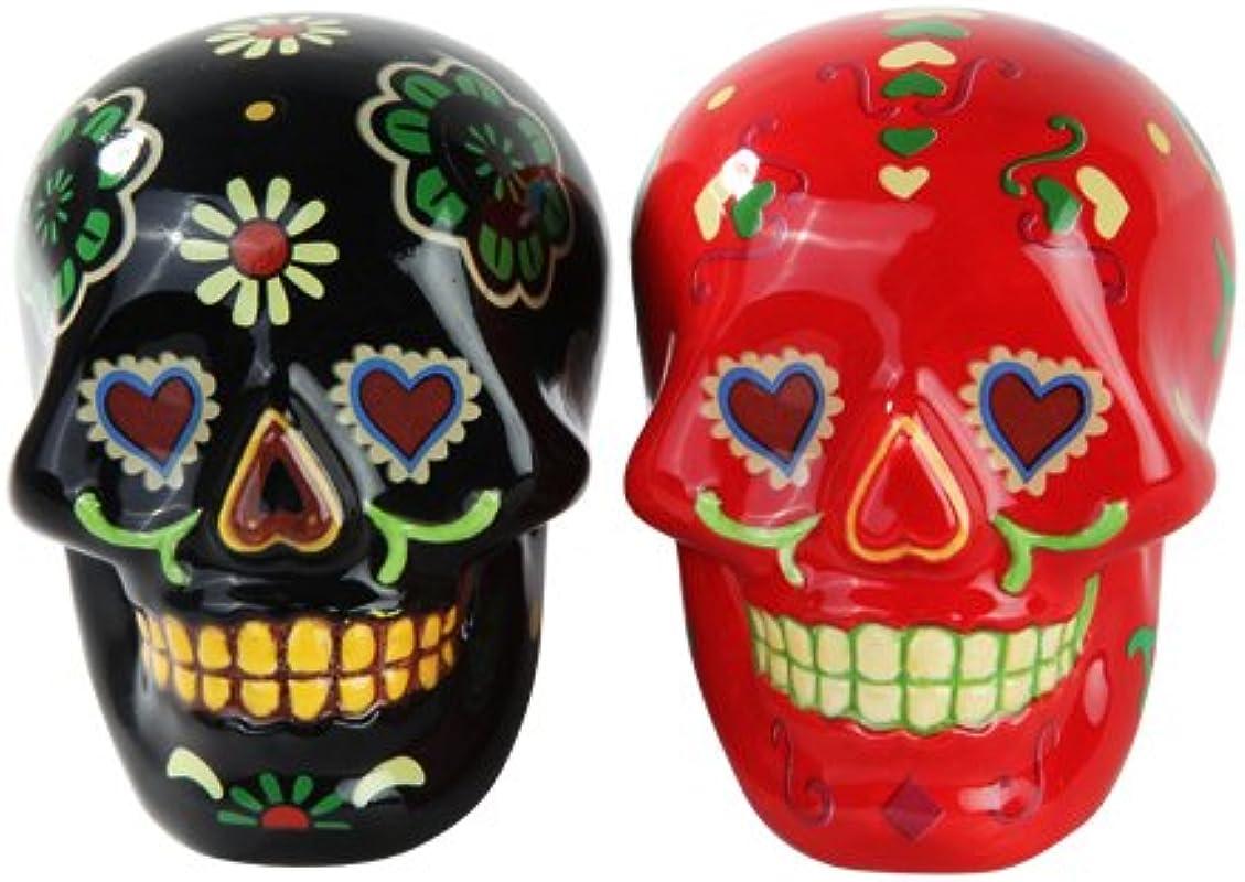 1 X Day Of Dead Sugar Black Red Skulls Salt Pepper Shakers Set Skulls Collection