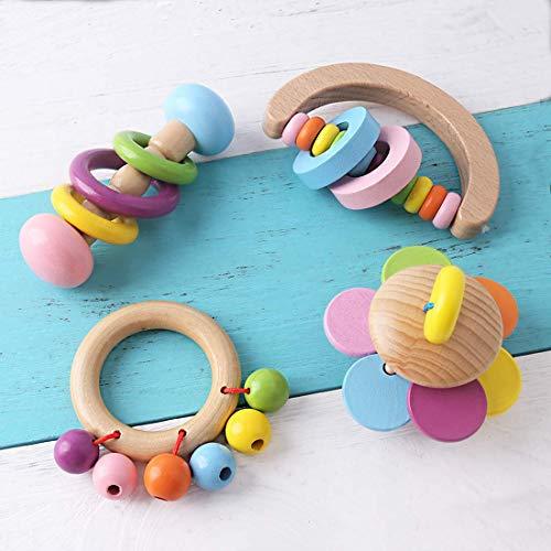 Promise Babe Bio Kleinkind Holzspielzeug Holz Beißring Rasseln 4pc für Kinder Regenbogenglocken Baby Ringer Montessori Pädagogisches Spielzeug Ungiftig Dusche Geschenk