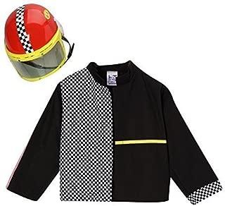 Boys Black Race Car Driver Jacket & Helmet Costume Set Size 2/4