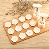 2 Pieces Moon Cake Mold Cutter Cookie Press Cake Stamp with 12 Stamps 50g Mid Autumn Festival DIY Decoration Press Cake Cutter Mold