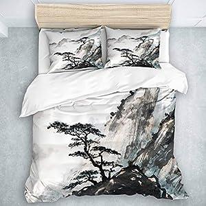 LOSUMIGE Bedding Juego de Funda de Edredón - Rosa Japonés Chino Paisaje Pintura China Tinta Montaña Árbol - Microfibra Funda de Nórdico y Fundas de Almohada - (Cama 220 x 240cm)