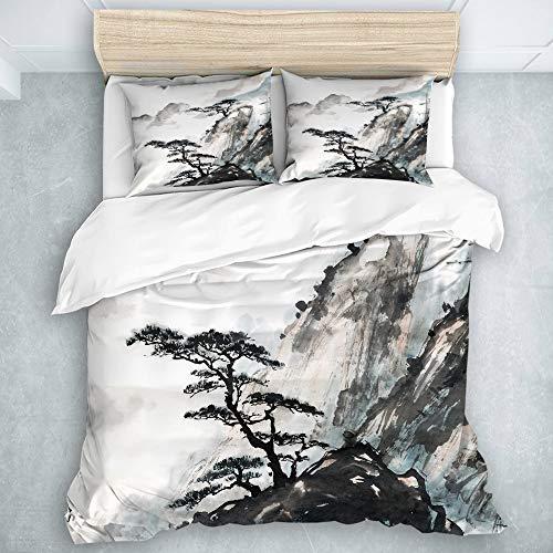 LOSUMIGE Bedding Juego de Funda de Edredón - Rosa Japonés Chino Paisaje Pintura China Tinta Montaña Árbol - Microfibra Funda de Nórdico y Fundas de Almohada - (Cama 240 x 260cm)