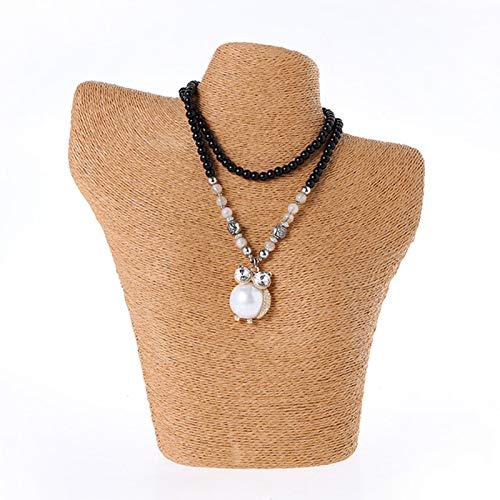 Rack de Stands de joyería, plástico/Papel Cuerda Retrato Collar Pantalla, Pantalla de Ventana Props, Moda de Alta Gama (Tamaño: 25x27.5x14cm) Khaki