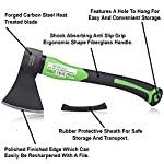 """WilFiks Chopping Axe, 15"""" Camping Outdoor Hatchet for Wood Splitting and Kindling, Forged Carbon Steel Heat Treated Hand… 8 ► EASY TO USE: Our Wood Chopping Axe is designed for easy chopping Of Firewood, Logs, Kindling and Branches. The Optimized blade geometry is designed for maximum efficiency to give you more one-strike splits. Ideal for campers, hikers, outdoor activities, preparing wood for bonfires and garden work. ► DURABLE CONSTRUCTION: The Forged Carbon Steel Heat Treated blade which improves its density and makes the axe more durable produces smooth, sharp, and quick splits and stays sharp longer than traditional axes. You can count on this Hand Axe to deliver superior, long lasting performance. ► ERGONOMIC DESIGN: Our Hatched is Designed with a Shock Absorbing Anti Slip Grip, Cold Resistant Ergonomic Shaped Fiberglass Handle which will reduce the strain on your hand, resists slipping and adds comfort."""