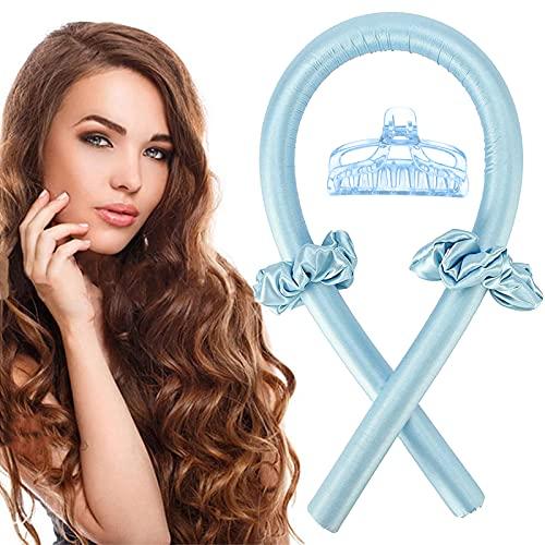 Varilla para rizar sin Calor, Heatless Curler,Rizadores de Pelo de Onda de cinta,Silk Hair Curler,Diadema de vara de curling sin calor (azul)