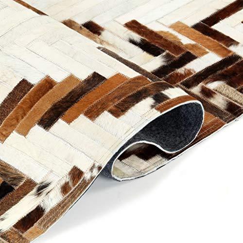 Goliraya Teppich für Wohnzimmer, Schlafzimmer Echtes Kuhfell Patchwork 160×230cm Braun/Weiß
