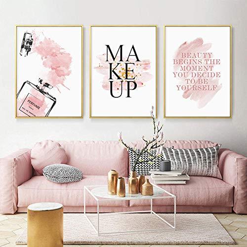 OCRTN Flor Rosa Perfume Esmalte de uñas Cartel de Moda Maquillaje de pestañas Impresión de Lienzo Pintura de Arte Cuadro de Pared Decoración de habitación de niña Moderna - 40x50cmx3 Sin Marco