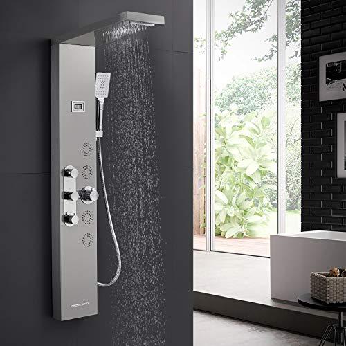 BONADE Duschpaneel Thermostat Duscharmatur aus Edelstahl, Duschsystem mit LCD Display Temperaturanzeige Duschgarnitur mit Regendusche, Wasserfalldusche, Massagendüsen, Handbrause und Wannenauslauf