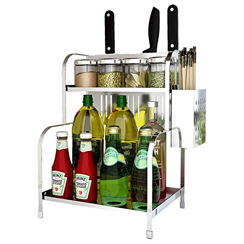 ZYLBDNB Kitchen Spice Rack: Estante de Cocina de Acero Inoxidable de 2...