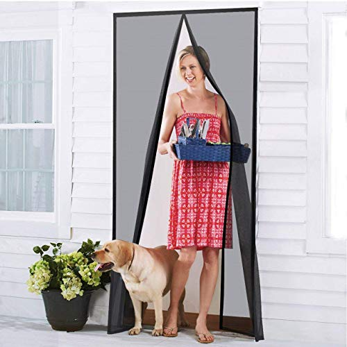 Homitt [Upgraded Version] Magnetic Screen Door with Durable Fiberglass Mesh Curtain and Full Frame Hook & Loop Fits Door Size up to 39'x83' Max- Black