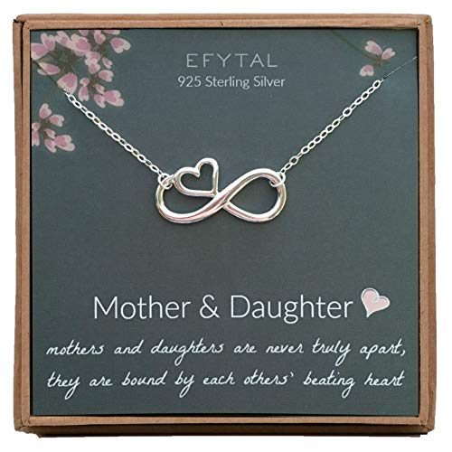EFYTAL Mom Gifts, 925 Sterling Silver Infinity with Heart Necklace for Mother & Daughter, Mom Necklaces for Women, Best Birthday Gift Ideas, Pendant Mother's Day Jewelry For Her, Mothers Day