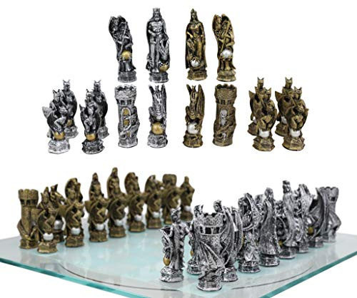Ebros Gift Silver and Gold Painted Legend of King Arthur Pendagron Merlin Mordred Dragons and Magic Felted Base Resin Chess Pieces with 15' by 15' Frosted Glass Board Set Gaming Board Game Collection