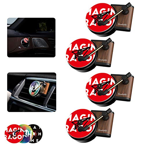 Car Retro Record Player Design Car Perfume Clip Diffuser Record Player Air Fresh Clip Retro Record Player Car Decor Auto Air Vent Fragrance Smell Diffuser 3 Aromatherapy Tablets Included 4pack
