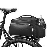 XPhonew Multifunktions-Fahrradtasche, für Mountainbike, wasserdicht, 12 Liter Fassungsvermögen, für Gepäckträger, Schultertasche, mit Tasche für Wasserflasche, Schwarz