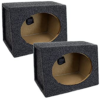 QPower Angled Style 6 x 9 Inch Car Audio Speaker Box Enclosures 2 Speaker Boxes