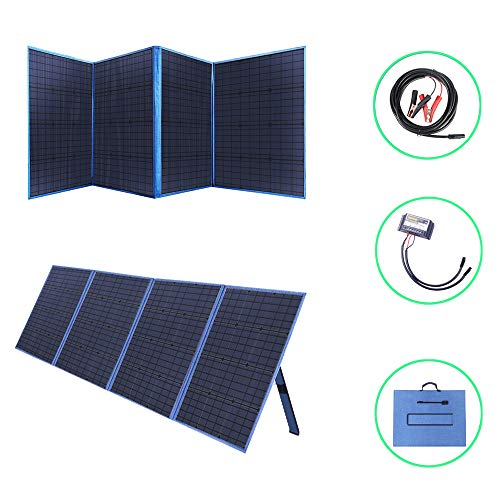 Betop-camp 200W 12V Tragbare Falten Solar Panel mit einem 15A Solarladeregler für Camper, Wohnmobil Rallys, Mobile Offices 12V System (Blau)