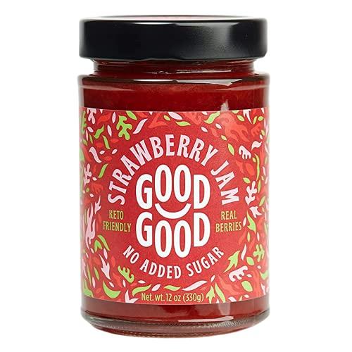 Sweet Strawberry Jam by Good Good - 12 oz / 330 g - Keto Friendly No Added Sugar Strawberry Jam - Keto - Vegan - Gluten Free - Diabetic (Strawberry)