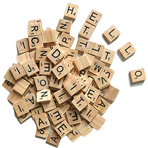 StyleBest 50 / 100Pcs Wooden English Letter Set Wort Scrapbooking Scrabble Number Alphabet F
