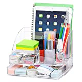 Upgraded Acrylic Desk Organizer, All in One Office Supplies Accessories with 2 Drawers for Home/Office/Makeup Desktop Organization & Decor, Clear