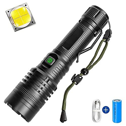 Helius Led Taschenlampe Extrem Hell,Neueste CREE XHP90-5700 Lumen Taschenlampen,5 Modi USB Aufladbar Tactical Zoombar Flashlight Für Camping,Wasserdichte Taschenlampe Kinder (Mit 5000mAh 26650 akku)