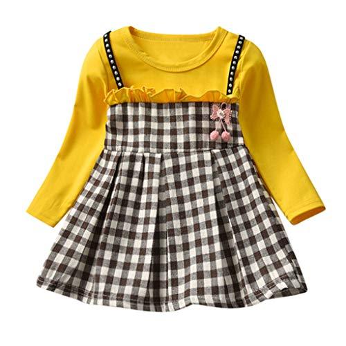 Kobay Mädchen Sommer Süßes Muster Kleinkind Baby Kinder Mädchen Geraffte Plaid Patchwork Riemen Prinzessin Kleid Kleidung