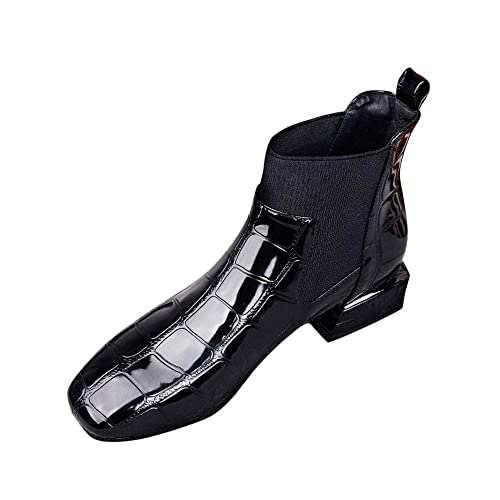 ec1c0c8070507 Fiaya Women's Patent Leather Square Toe Elastic Slip On Chelsea Booties  Casual Ankle Rain Boots (