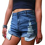 Women's Juniors Distressed Cut Off Ripped Jean Shorts High Waisted Denim Shorts (XL, Denim Blue)