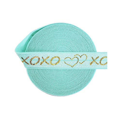 NHFVIRE 2 5 10 Yard 5/8' 15Mm Xoxo Heart Foil Print Fold Over Elastics Spandex Bands Tape Hair Tie Headband Sewing Trim Aqua 10 Yards