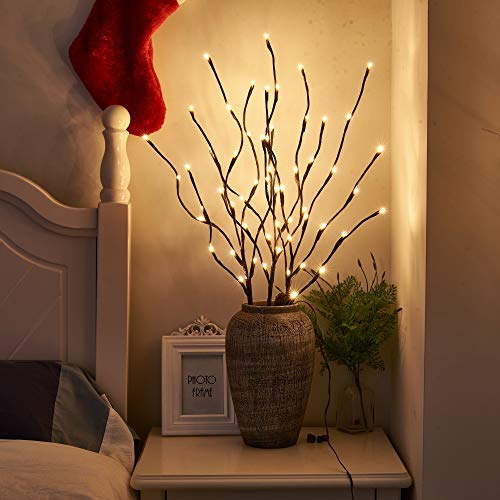 PEIDUO Lighted Willow Branch 30Inch 3PK 60L LED Pathway Lights for Christmas Room Decoration Indoor Apartment Outdoor Sticks Lights for Lawn(Vase Exclude)