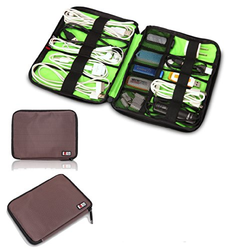 BUBM Universal Cable Organizer Electronics Accessories Case USB Drive Shuttle (Coffee)