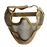 Fancymall-Mask Generic Tactical Airsoft CS Masque de Protection en Cotte de Maille, Brun