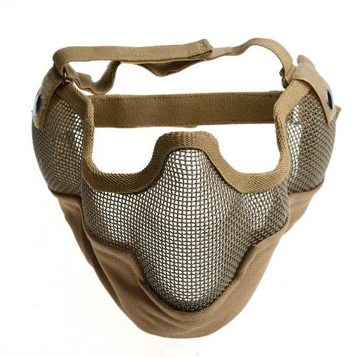 Máscara táctica protectora para airsoft (CS, media cara, rejilla, metal), color tostado