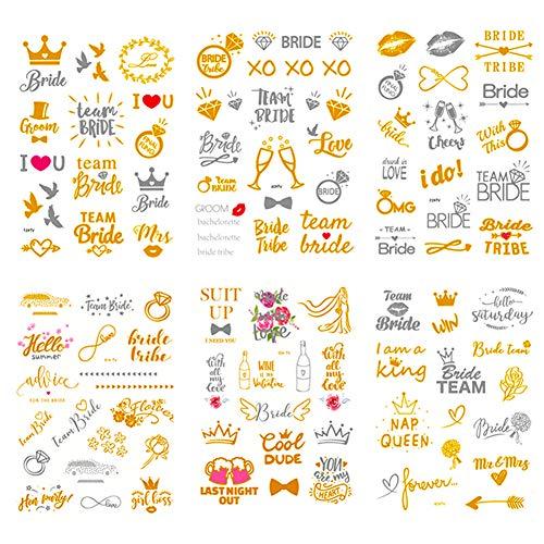 Team Bride Addio Al Nubilato tatuaggi temporanei,Simuer amiche sposa Temporary Tattoos per Addio al Nubilato Hen Feste Notte Doccia nuziale Decorazione, 6 Fogli