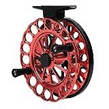 FOLOSAFENAR Accesorio de Pesca de 2 rodamientos mecanizado con precisión de aleación de Aluminio Carrete de Pesca de tracción Delantera, sin Frenos(90 Black Red)