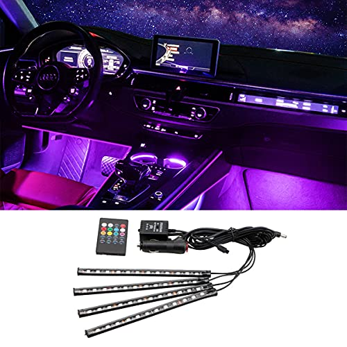 Car LED Strip Lights, Multicolor Music Lights with Infrared Wireless Remote...
