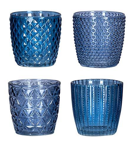 levandeo 4er Set Windlicht H7,5cm Glas Blau Teelichthalter Kerzen Retro Kerze Kerzenhalter Tischdeko Deko