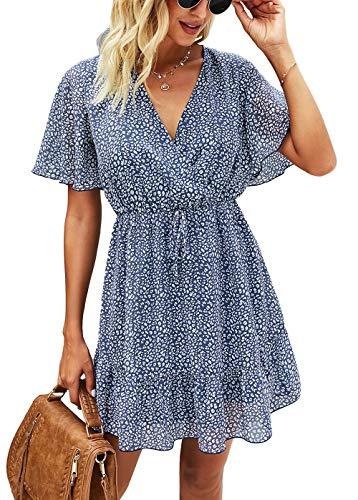 KIRUNDO 2021 Women's Summer Short Sleeve Ruffle Floral Dress Sexy V Neck High Waist Layer Short Mini Dress with Belt (Large, Dark Blue)