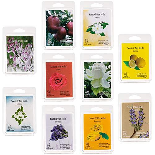 Onebird Scented Wax Melts -Set of 10 (2.5 oz) Assorted Wax Warmer Cubes/Tarts - Vanilla, Bergamot, Rosemary, Apple, Gardenia,Lemon, Lavender, Lilac, Rose, Jasmine