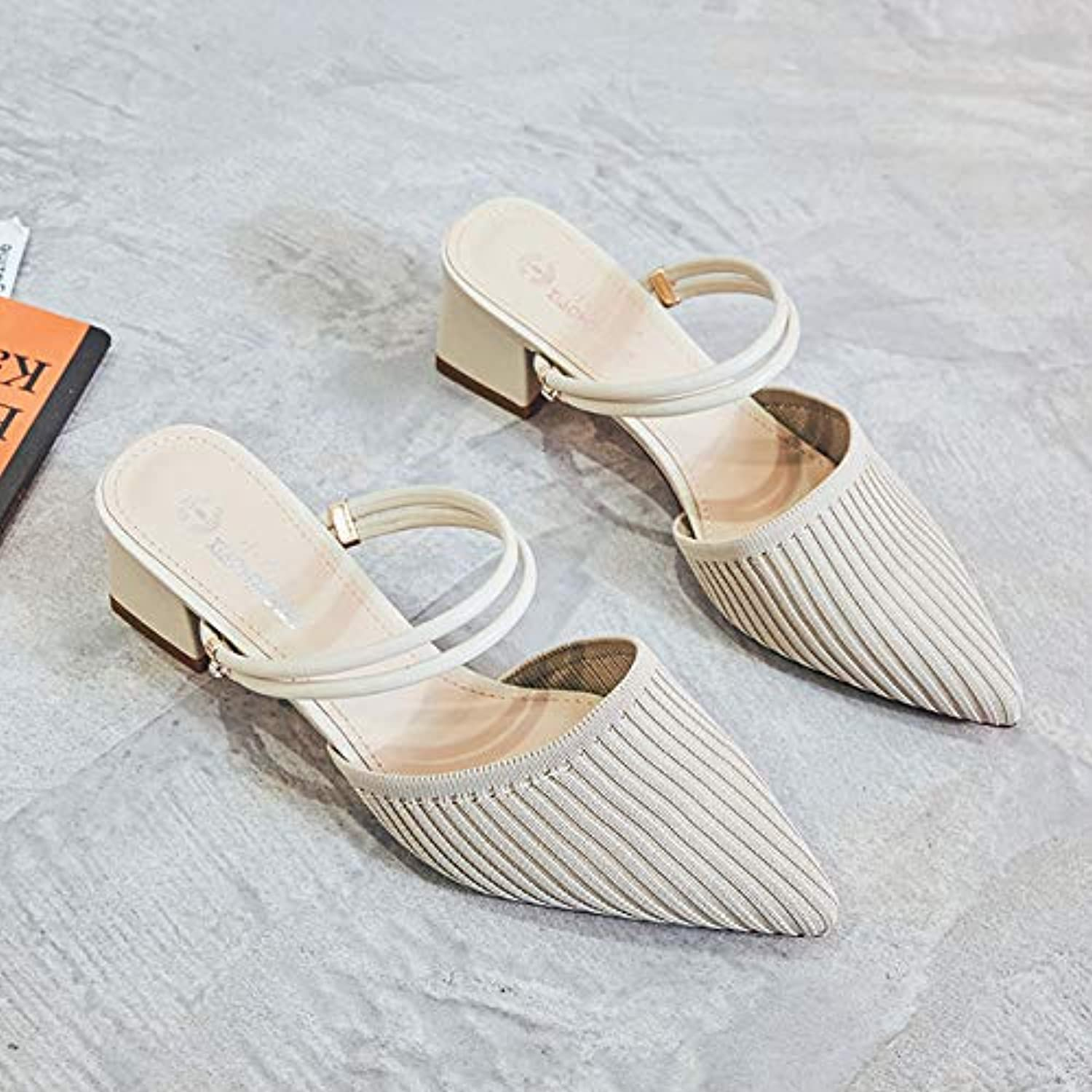 Pointed Slippers Women 2019 Summer New Thick with Lazy Half Slippers Female Fairy Wind Sandals Women One shoes Two Wear,A,US5.5 EU36 UK3.5 CN35