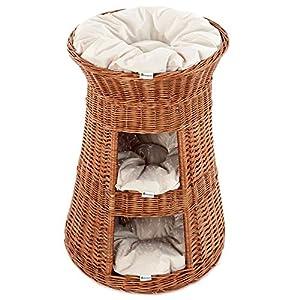 Casa Mascotas, Torre para gato de sauce, mimbre europeo con 3 almohadas, Cojín color:oscuras;Cat tower model:Torre de la naturaleza 13