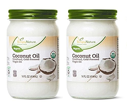 2-Pack Simply Nature Organic Coconut Oil Unrefined, Cold-Pressed Virgin Oil, (14 fl oz/each)