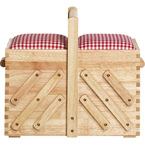Prym - Scatola da cucito, in legno, marrone, beige, M