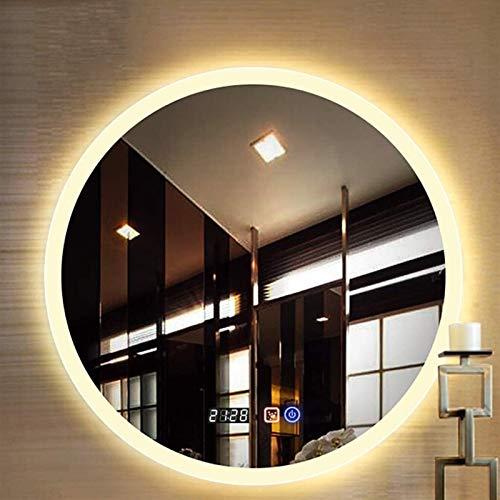 Cuarto de baño Redondo 60 cm / 70 cm Iluminado LED Luz Montado en la Pared con Interruptor táctil de luz Blanca/Caliente + Tiempo/Desfogging + Música Bluetooth Espejo Decorativo