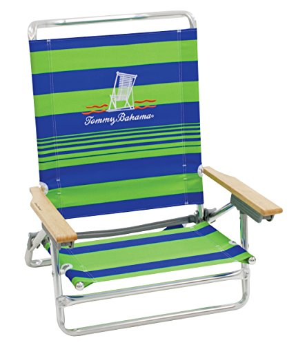 Tommy Bahama 5 Position Classic Lay Flat Beach Chair Green - Stripe