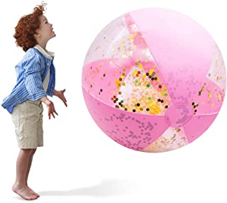 "DomeStar Beach Balls, 25"" Inflatable Glitter Balls Confetti Pool Toys Heavy Duty Beach Balls for Summer Pool Party"