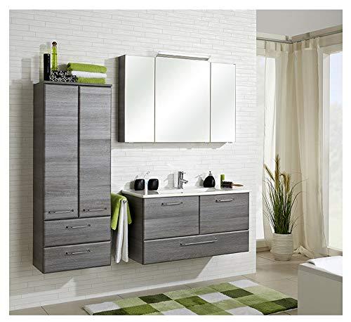 Pelipal - FILO 17 - Badmöbel-Set - 100 cm - Badset, Waschplatz, 4-teilig mit Spiegelschrank, Keramik-Waschtisch usw. in Graphit Struktur quer, EEK: A+ (Spektrum A++ - A)