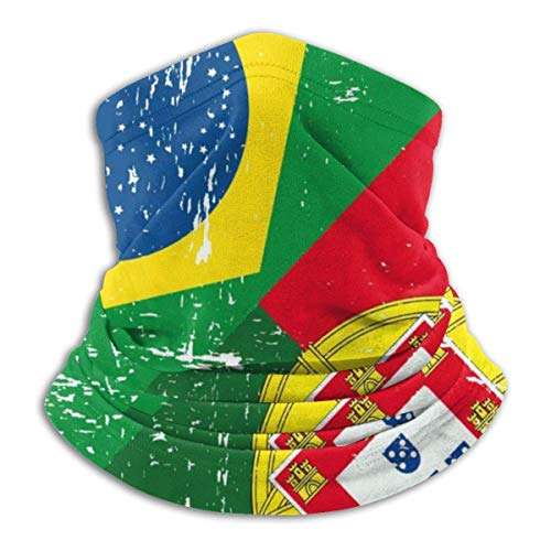 Emonye Head Scarf,Brazil and Portugal Flag Neck Gaiter for Hunting Face Cover,25x30cm