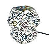 Lámpara de Mesa Decorativa de Cristal'Mosaico India-Multicolor'. Iluminación. Muebles Auxiliares. Adornos. Decoración Hogar. Regalos Originales. 14 x 14 x 17 cm.