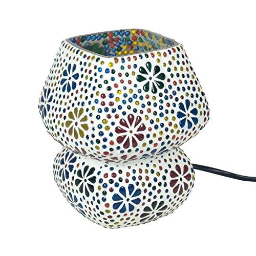 """Lámpara de Mesa Decorativa de Cristal""""Mosaico India-Multicolor"""". Iluminación. Muebles Auxiliares. Adornos. Decoración Hogar. Regalos Originales. 14 x 14 x 17 cm."""